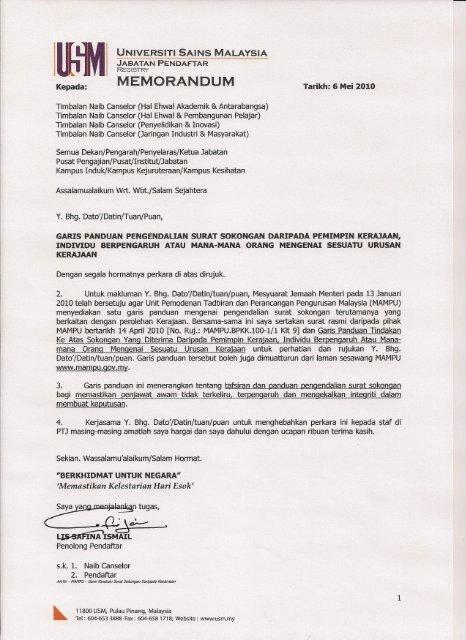 Garis Panduan Pengendalian Surat Sokongan Daripada Pemimpin