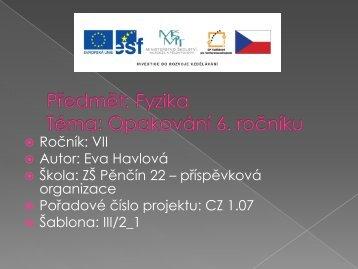 Opakování látky 6. ročníku - Základní škola Pěnčín