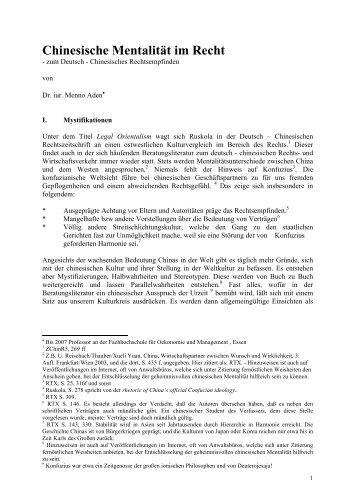 Chinesische Mentalität im Recht - auf der Netzseite von Prof. Dr. iur ...