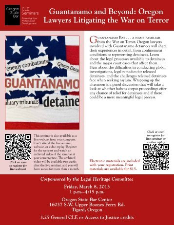 Guantanamo and Beyond: Oregon Lawyers Litigating the War on ...