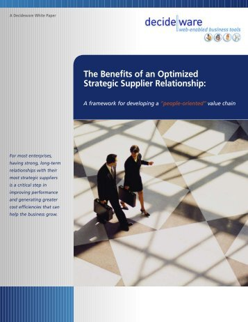 The Benefits of an Optimized Strategic Supplier Relationship:
