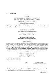 TÍPUSVIZSGÁLATI BIZONYÍTVÁNY - Jüllich Glas Holding Zrt.