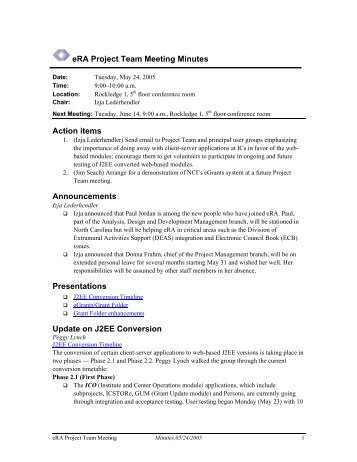 era project team meeting minutes action items handouts opening