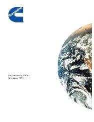 Sustainability Report November, 2003 - Cummins