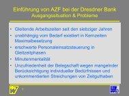 Einführung von AZF bei der Dresdner Bank