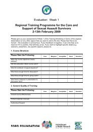 Evaluation: Week 1 Regional Training Programme for the Care and ...