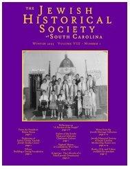 JHSSC Winter 2003 Newsletter.pmd - Jewish Historical Society of ...