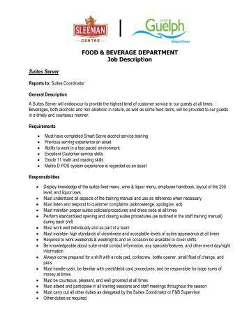 name description assistant food and beverage manager