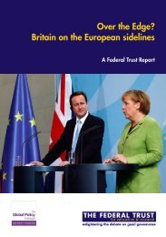 Over the Edge? Britain on the European sidelines - The Federal Trust