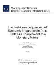 The Post-Crisis Sequencing of Economic Integration in Asia: Trade ...