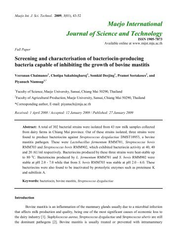 Screening and characterisation of bacteriocin-producing bacteria ...