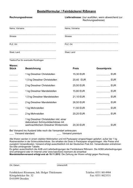 Bestellung Per Downloadbarem Formular Via Fax Oder Brief