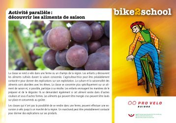 Activité parallèle : découvrir les aliments de saison - Bike2school