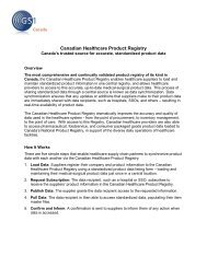 Canadian Healthcare Product Registry - GS1 Canada