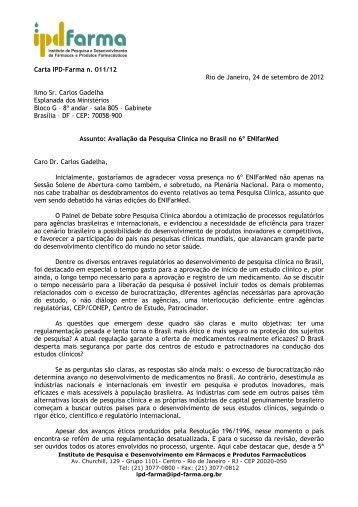 Carta do IPD-Farma enviada em setembro à SCTIE sobre a ...