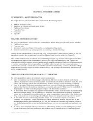 JOB SEARCH LETTERS INTRODUCTION - Wharton MBA Career ...