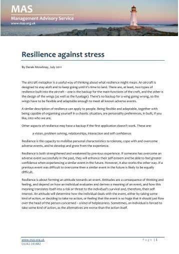 how to build resilience against stress