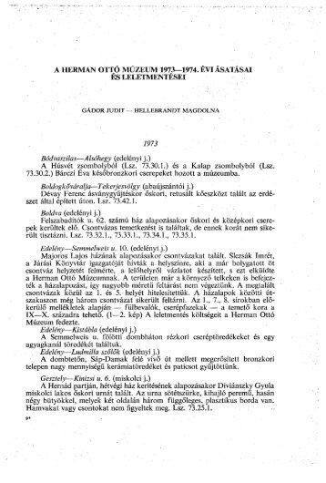 A Herman Ottó Múzeum Évkönyve 13-14. (1975)