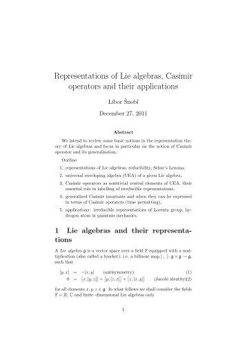 Representations of Lie algebras, Casimir operators and their ...