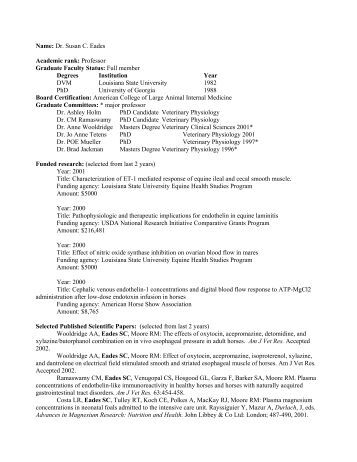 Graduate Faculty CV Form (2 page maximum) - School of Veterinary ...