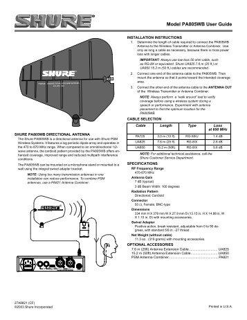 Model PA805WB User Guide