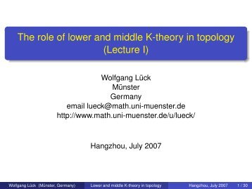 The role of lower and middle K-theory in topology (Lecture I)