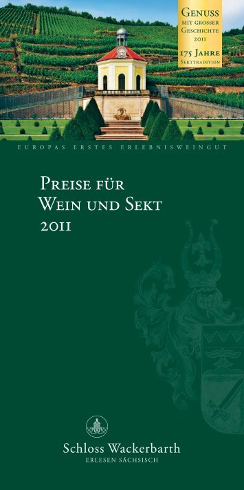 Preise für Wein und Sekt 2011 - Schloss Wackerbarth