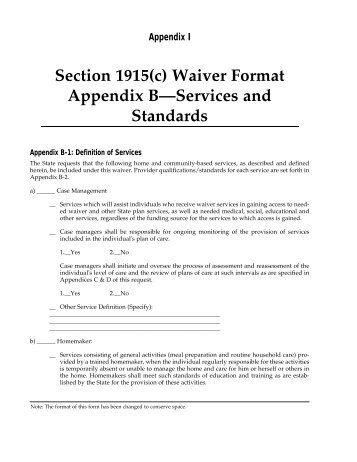 Section 1915(c) Waiver Format Appendix B—Services and ... - ASPE