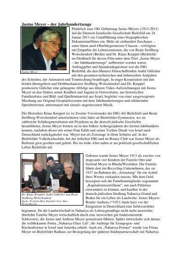 Justus Meyer – der Jahrhundertzeuge - Deutsch-Israelische ...