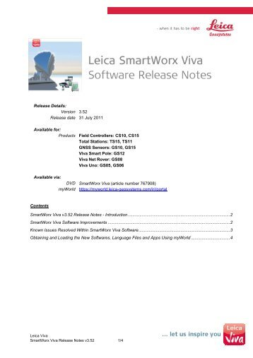 Leica SmartWorx Viva Software Release Notes - Leica Geosystems