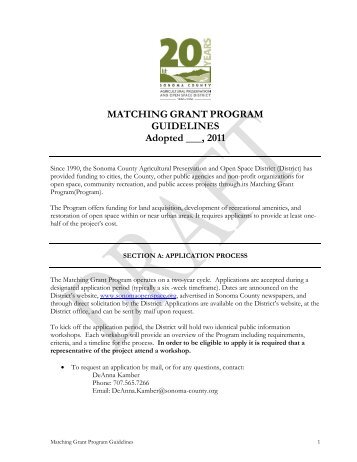 MATCHING GRANT PROGRAM GUIDELINES Adopted ___, 2011