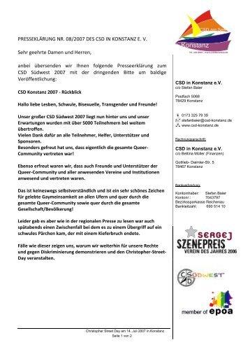 PRESSEKLÄRUNG NR. 08/2007 DES CSD IN KONSTANZ EV Sehr ...