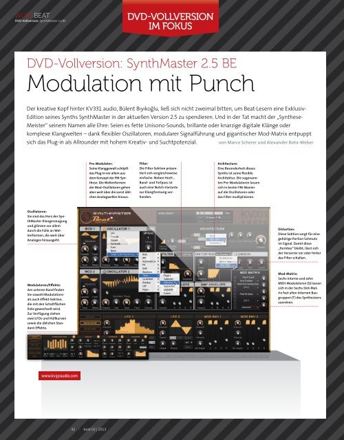 SynthMaster BE - Teil 1 - BEAT 02/2013 - plasticAge.de