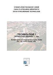 HUMÁR, A. TECHNOLOGIE OBRÁBĚNÍ - 1. část, 2003 - VUT UST ...