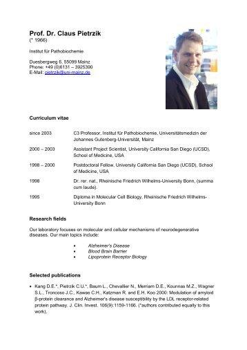 Prof. Dr. Claus Pietrzik - FTN - Johannes Gutenberg-Universität Mainz