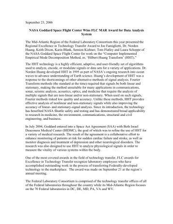 NASA Goddard Space Center Award for Data Analysis System PDF ...