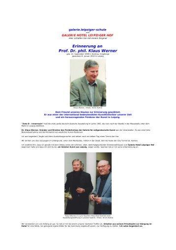 Erinnerung an Prof. Dr. phil. Klaus Werner - Hotel Leipziger Hof