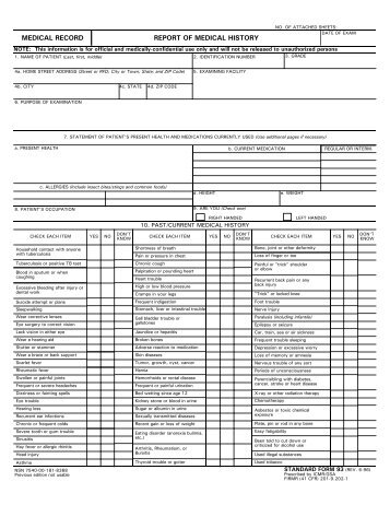 standard form 93 report of medical history jsc aircraft ops main
