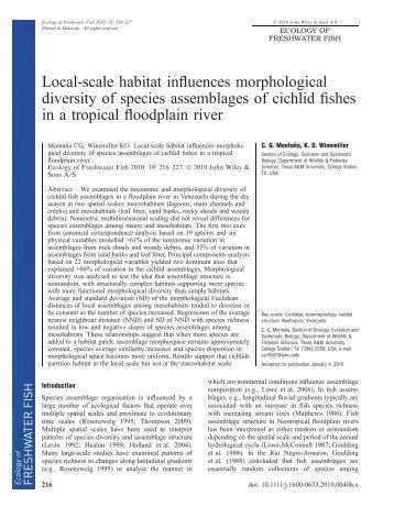Local-scale habitat influences morphological diversity of species ...