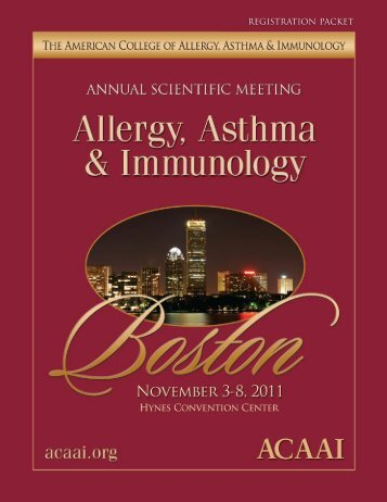 ACAAI Preliminary Program 2011 - American College of Allergy ...