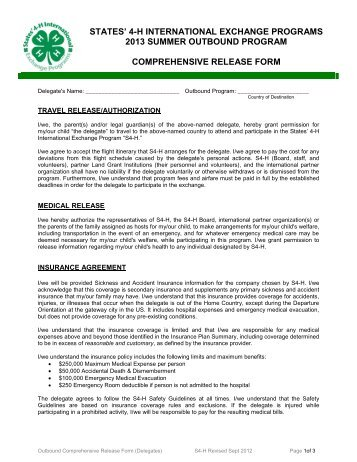 Comprehensive Release Form - Michigan State 4-H