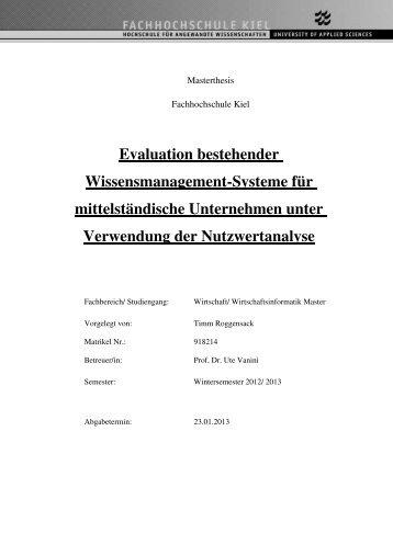 Ergebnisse und Empfehlung der Master-Thesis