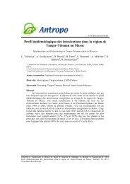 Profil épidémiologique des intoxications dans la région de Tanger ...