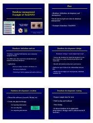 Database management Example of TickINFO - Caribvet