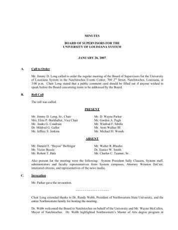 BOARD MINUTES 1-26-07 - University of Louisiana System