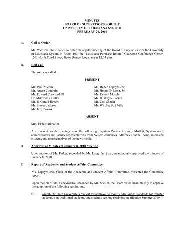 BOARD MINUTES 2 26 10 - University of Louisiana System
