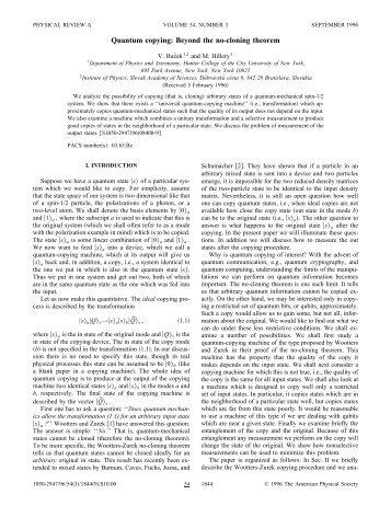 Quantum copying: Beyond the no-cloning theorem - American ...