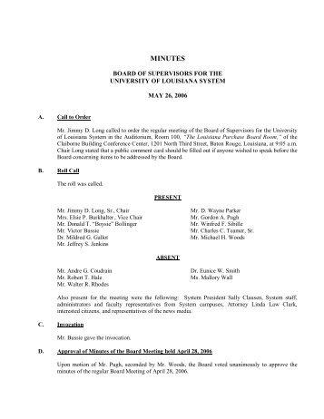 BOARD MINUTES 5-26-06 - University of Louisiana System