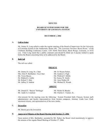 BOARD MINUTES 12-1-06 - University of Louisiana System