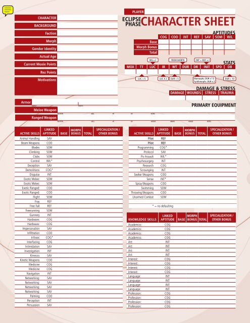 Eclipse Phase Character Sheet